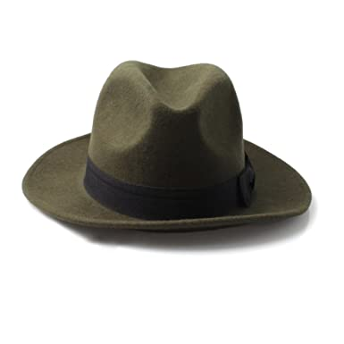 Forest Green Fedora Style Hat with Black Trim and Bow  Amazon.co.uk ... e3f0099e1d3