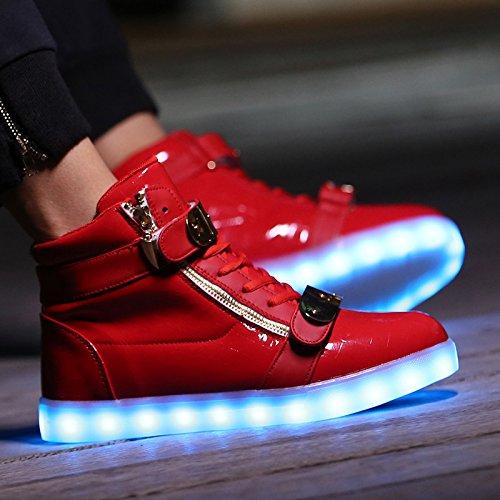 Scarpe Da Uomo Annabelz Alte Scarpe Da Uomo Alte Accendono Scarpe Da Ginnastica Con Caricatori Metallici Lampo In Metallo Rosso Velcro