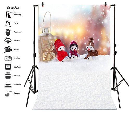 Leyiyi 8x10ft Photography Backdrop Vintage Merry Christmas Background Happy New Year Candles Old Lantern Snowman Blury Shining Night Snow Birthday Baby Shower Photo Portrait Vinyl Video Studio Prop