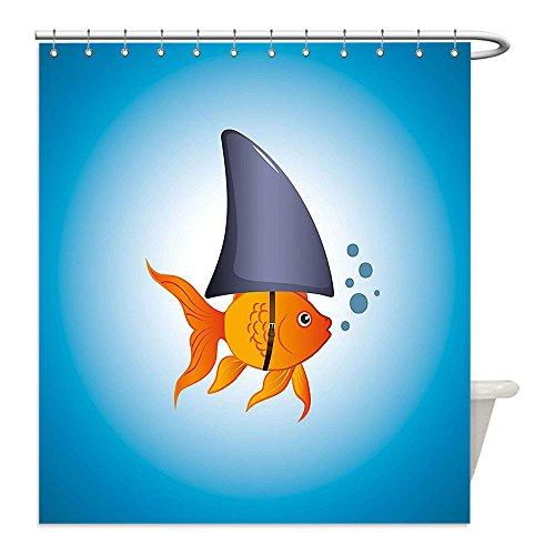 [Liguo88 Custom Waterproof Bathroom Shower Curtain Polyester Shark Little Goldfish Wearing A Shark Fin to Scare Predators Success Concept Violet Blue Grey Orange Decorative bathroom] (Predator Costume Walmart)