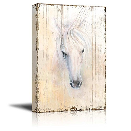 Beautifully Drawn White Horse on a Vintage Background