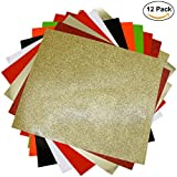 "Craftweeks HTV RED & GOLD THEME (10"" x 12"", 12 pack 8 assorted colors w/ Glitter) Heat Transfer Vinyl Sheet Bundle for DIY Gift Tees, Matching Clothes Outfits for Twins, Family, Couples"