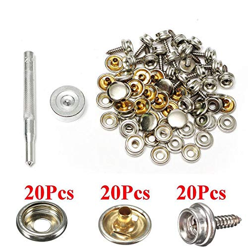 20Set Stainless Steel 5/8 Inch Boat Cover Fittings Fastener Snap Kit with  Tools - Fasteners Threaded Rods & Studs- 20 x Snap Fastener sockets, 20 x
