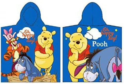 Disney Winnie The Pooh Poncho de baño Poncho toalla para niños, 100% algodón, azul, 50 x 100 cm