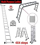 SIKY 15.45FT Telescoping Ladder 4.7M Aluminum Telescopic Extension Multi Purpose Ladder Heavy Duty Non-Slip Ladder EN131 Certified 330lb Max Capacity