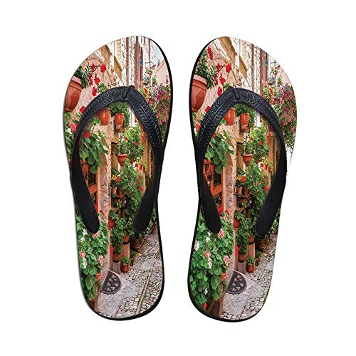(Tuscan Decor Comfortable Flip Flops,Street View of a Small Renaissance Town with Floral Porches and Rock Houses Mediterranean Art for Pool Garden,US Size 10 )