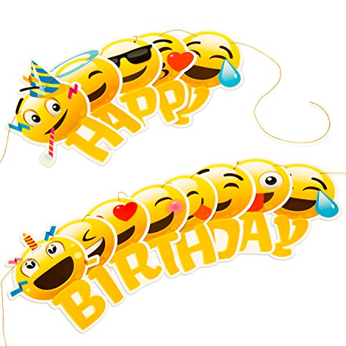 Happy Birthday Banner Emoji With Garland Strip Free Shipping