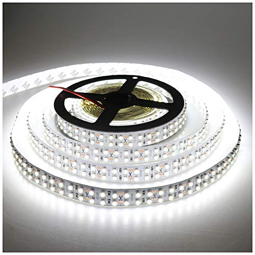 LEDENET Cold White 5M Double Row 3528 SMD 1200LEDs Flexible Strip Tape Light 240LEDs/M Ribbon Lamp DC 12V 16.4Ft (Cold White Strip) ()
