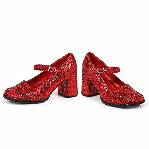 Ellie 300-eden-g Donna Sexy Confortevole 3 Tacco Mary Jane Glitter Shoes Glitter Rosso