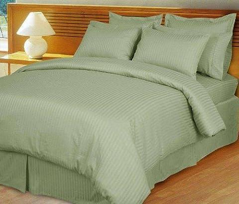 800 Thread Count Three (3) Piece California King Size Sage Stripe Duvet Cover Set, 100% Egyptian Cotton, Premium Hotel - Cotton Stripe Sage
