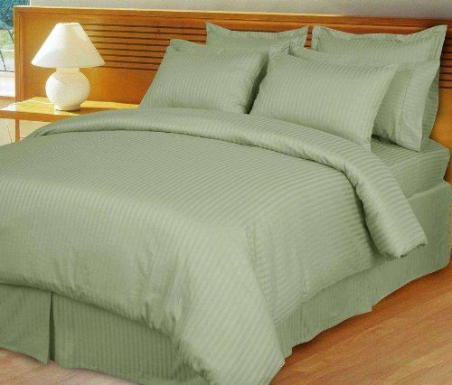 1000 Thread Count Three (3) Piece Queen Size Sage Stripe Duvet Cover Set, 100% Egyptian Cotton,  ...