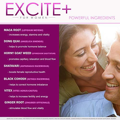 ExcitePlus | Intimacy Formula for Women | Epimedium, Maca, Vitex, Dong  Quai, Shatavari and More | Capsules to Drive Better Intimate Experiences