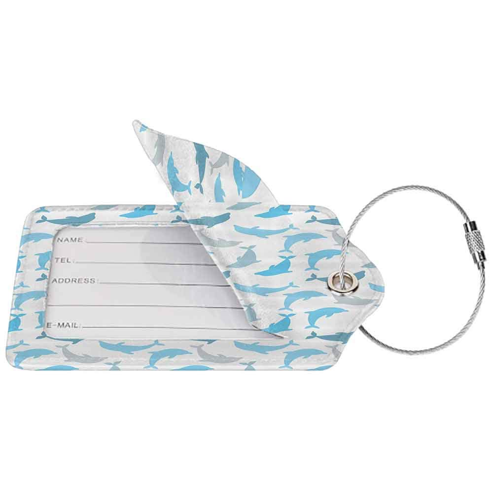 Multi-patterned luggage tag Sea Animals Decor Dolphin Figures Underwater Ocean Marine Natural Life Delphinoid Art Double-sided printing White Blue Grey W2.7 x L4.6