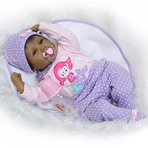 """Search : Reborn Baby Doll Girl Real Life Soft Silicone 22"""" Weighted Body Realistic Newborn Black Baby Dolls African American Girl cute doll Gift Set for Ages 3+"""