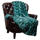 Chanasya Super Soft Warm Elegant Cozy Fuzzy Fur Fluffy Faux Fur with Sherpa Wavey Pattern Plush Teal Blue Throw Blanket - Solid Wave Pattern Teal Blue
