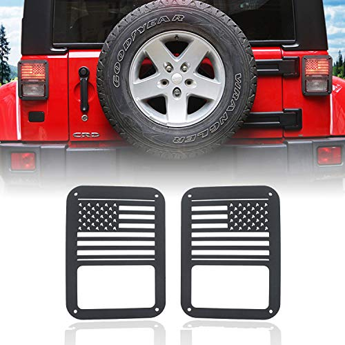 (E-cowlboy Tail Light Cover Trim Guards Protector USA Flag for Jeep Wrangler JK JKU Sports Sahara Freedom Rubicon X & Unlimited 2007-2018 (Pack of 2))