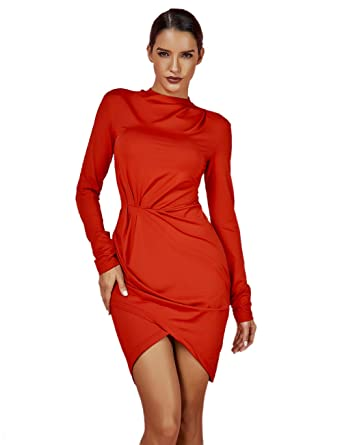 366c667894 UONBOX Women s Long Sleeve Ruched Smoothy Night Club Party Mini Bodycon  Dress Red XS