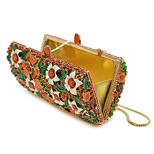 Flada Flower and Red Clutches Bags Crystal Evening Clutch Women Bridal Rhinestones Purse for rrwCBq