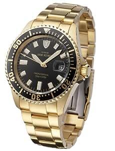 Detomaso DT-SG5080R09A-AU - Reloj de cuarzo para hombres, con correa de acero inoxidable de color dorado, esfera negra