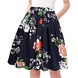 Taydey A-Line Pleated Vintage Skirts for Women (2XL, Navy Flower)