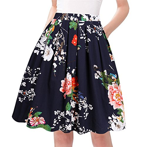 Taydey A-Line Pleated Vintage Skirts for Women (S, Navy Flower)