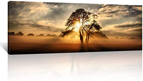 Kreative Arts Gallery Wrap Canvas Print Beautiful Sunset Panoramic Canvas Art Print Nightfall Tree Landscape Canvas Prints Ready To Hang 20 X55 Posters Prints