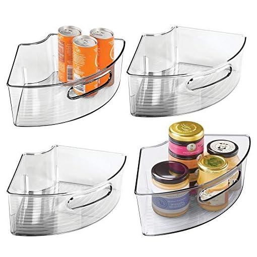 Kitchen mDesign Deep Plastic Kitchen Cabinet Lazy Susan Storage Organizer Bin with Front Handle – Small Pie-Shaped 1/4 Wedge, 4… lazy susans