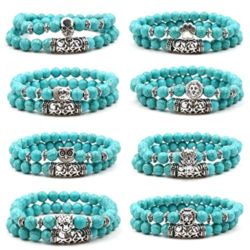 - 2 Pcs/Set Natural Stone Turquoise Beads Bracelets Buddha Head Skull Owl Bear Paw Dragon Charm Yoga Energy Bangle Bracelet Set Jewelry for Men Women Multi-Color 4