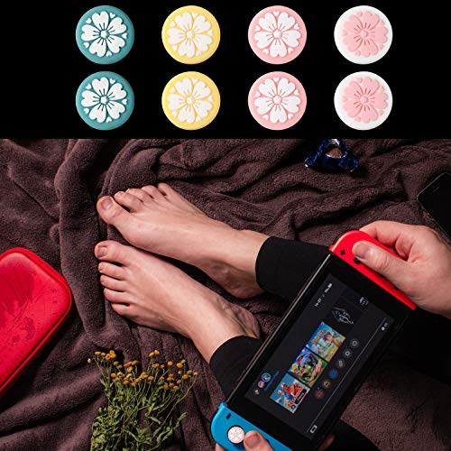 8 Pieces Sakura Flower Thumb Grip Caps, Thumb Grips Analog Stick Cover Soft Silicone Button Joystick Cap Compatible with Nintendo Switch, Switch Lite and Joy-Con Controller