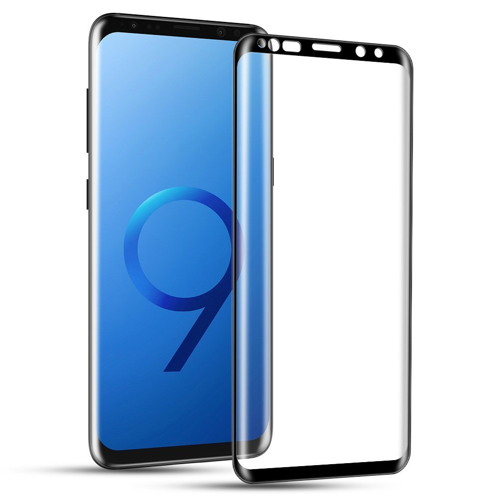Galaxy S9 Screen Protector,Capshi S9 Edge Tempered Glass Full Coverage 3D Curved High Definition Ultra Clear Film Anti-Bubble Screen Protector for Samsung Galaxy S9 (Black)