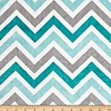 Shannon Minky Cuddle Zig Zag Topaz/Charcoal/Snow Fabric By The Yard