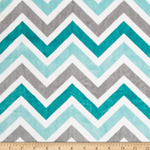 Shannon Fabrics Minky Cuddle Zig Zag Fabric by The Yard, Topaz/Charcoal/Snow (Zag Zig By The Yard Fabric)
