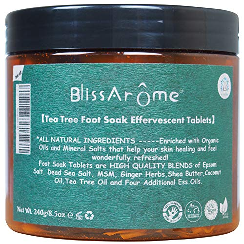 Tea Tree Oil Foot Soak Bombs Tablets for Athletes Foot Soaking with Tea tree oil and more, Foot Spa Bath Pedicure Tools and Toenail fungus, Soothes Dry Calloused Heels - 8.5oz,30 Tablets