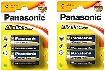 Outletdelocio. Pack 4 Pilas alcalinas Panasonic R14 C. Larga ...