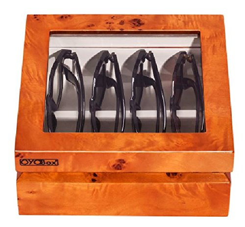 OYOBox Luxury Eyeglasses Eye Wear MIni Burl Lacquer Finish Wooden Organizer Box by OYOBox