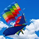 3D Kite with Bag Colorful Waterproof Ship Bali Breeze Supersize Kites 38 Inch Large Easy Flyer Perfect for Beach or Outdoor Activities , Kids and Adults All Love It