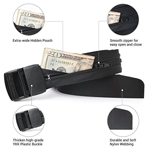 Travel Security Money Belt with Hidden Money Pocket - Cashsafe Anti-Theft Wallet Unisex Nickel free Nylon Belt by JASGOOD (Style 1-1.5'' width-Money belt, 1 Black-fit pant size 41-50'') by JASGOOD (Image #1)
