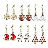 Akvode Womens Girls Kids Christmas Stud Earring Set 6 Pairs Christmas Dangle Earrings Set for White Snowman Xmas Snowflake New Year Gifts