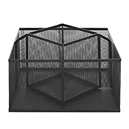 Rotating Black Metal Wire Mesh 5 Compartment Office Supply Caddy / Desktop Storage Organizer Rack