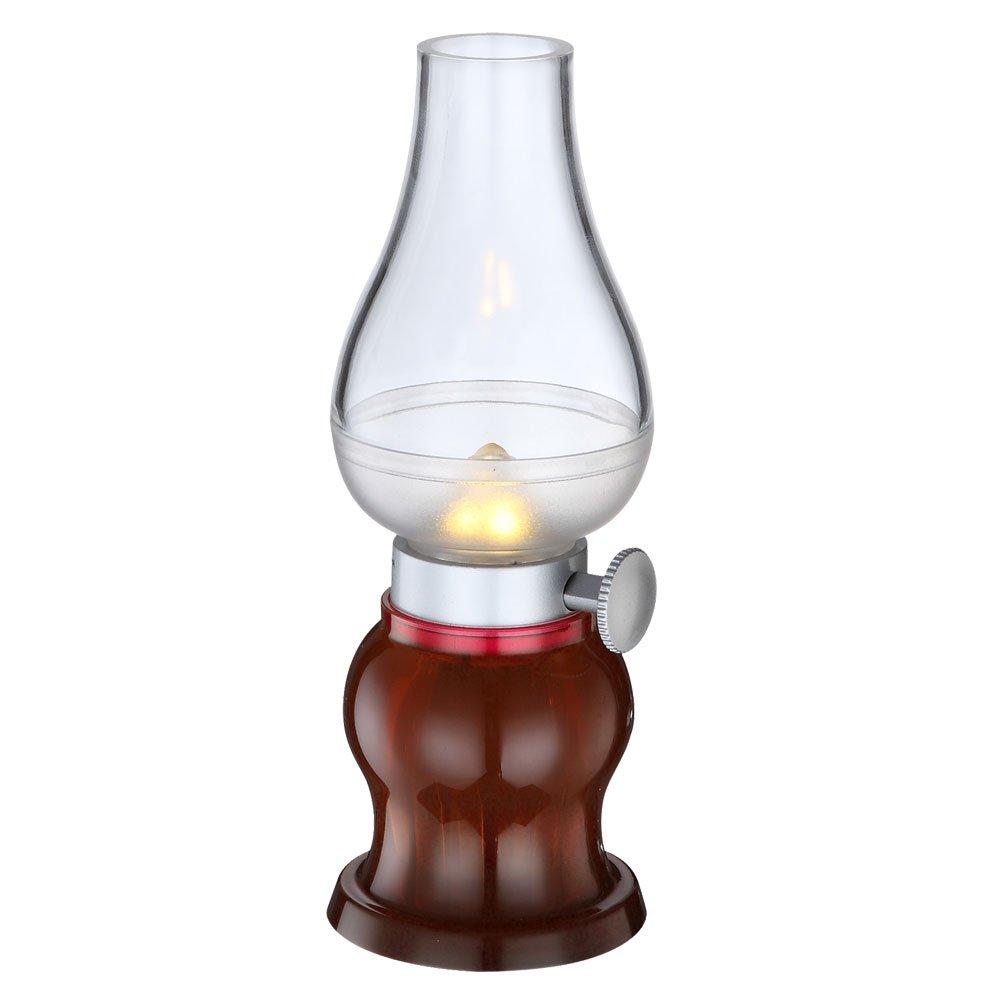 LED Tisch Lampe Dreh Dimmer Wohnzimmer Camping Beleuchtung USB Akku Leuchte Rot Globo 28015 12 Amazonde