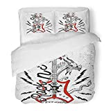 Emvency Bedding Duvet Cover Set Twin (1 Duvet Cover + 1 Pillowcase) Metal Rock and Roll Festival Electroguitar Dragon Guitar Heavy Music Badge Band Hotel Quality Wrinkle and Stain Resistant