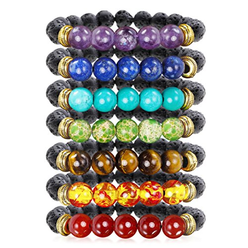 7 Chakra Healing Bracelet with Real Stones, Volcanic Lava, Mala Meditation Bracelet Set – Men's and Women's Religious Jewelry – Wrap, Stretch, Charm B…