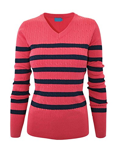 (makeitmint Women's V-Neck Stripe Pull Over Knit Sweater Top XL YISW0006_Coralnavy)