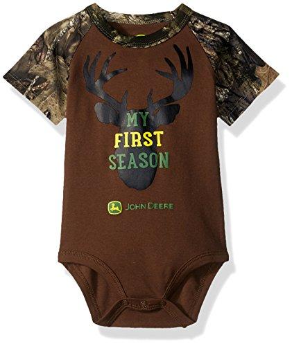 John Deere Baby Boys Bodysuit, Brown/Mossy Oak 6-9 Months