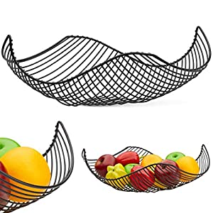 Vistella Fruit Bowl Basket in Matte Black - 5 Colors Available - Stainless Steel Wire Design with Modern Styling - Decorative Countertop Centerpiece 45