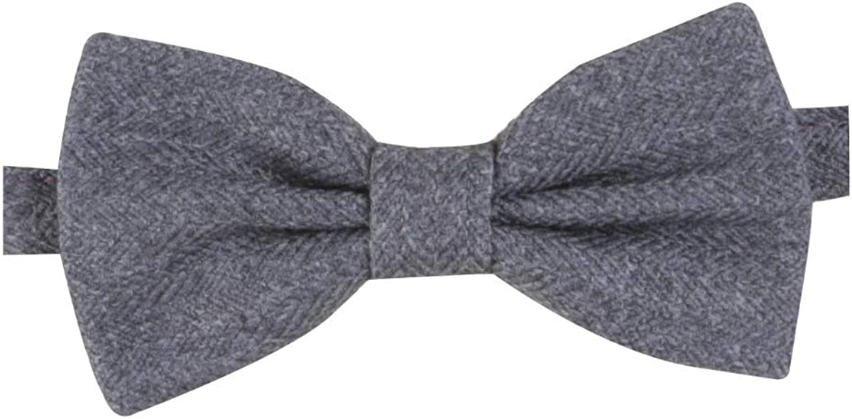 Mens /& Boys Matching Grey Herringbone Tweed Dickie Bow Tie and Pocket Square Set