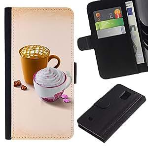LASTONE PHONE CASE / Lujo Billetera de Cuero Caso del tirón Titular de la tarjeta Flip Carcasa Funda para Samsung Galaxy Note 4 SM-N910 / Design Cute Whip Coffee