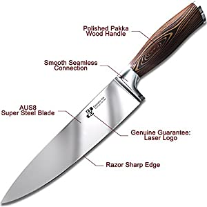 Chef Knife Premium Japanese AUS8 Steel - Professional 8 Inch Kitchen Chefs Knife - Durable, Rust-Proof Stainless Steel Sharp Blade with Solid Pakka Wood Handle in Elegant Magnetic Gift Box!