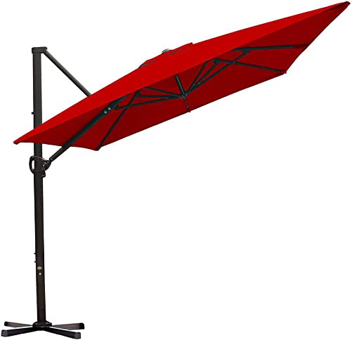 Abba Patio Rectangular Offset Cantilever Umbrella Outdoor Patio Hanging Umbrella with Cross Base, 8 x 10- Feet, Dark Red