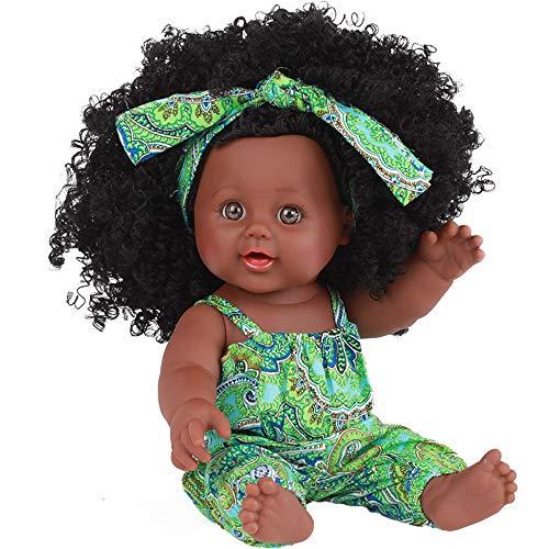 Littleice 12 inch Baby Play Dolls Black Girl Dolls African American Play Dolls Lifelike Child Simulation Baby Doll Black Doll